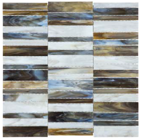 """Bliss Baroque Corallo Random Stacked Stained Glass Mosaic Tile (12""""x12"""" Sheet)"""