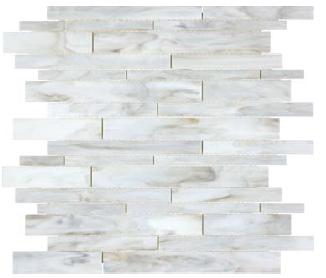 "Bliss Baroque Calacatta Random Strip Stained Glass Mosaic Tile (12""x12"" Sheet)"