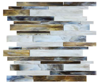 """Bliss Baroque Corallo Random Strip Stained Glass Mosaic Tile (12""""x12"""" Sheet)"""