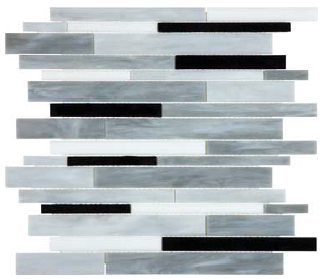 """Bliss Baroque Arabescato Random Strip Stained Glass Mosaic Tile (12""""x12"""" Sheet)"""