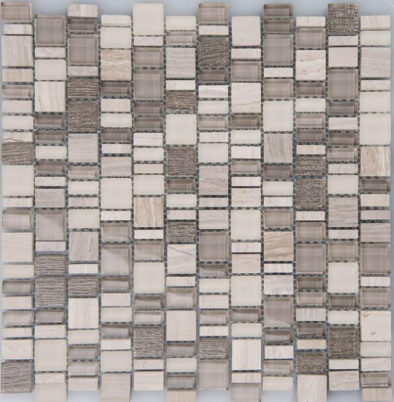 "Arvex - GMAR09 Karma Glass & Marble Mosaic Blend Tile (11.8""x11.8"" sheet)"
