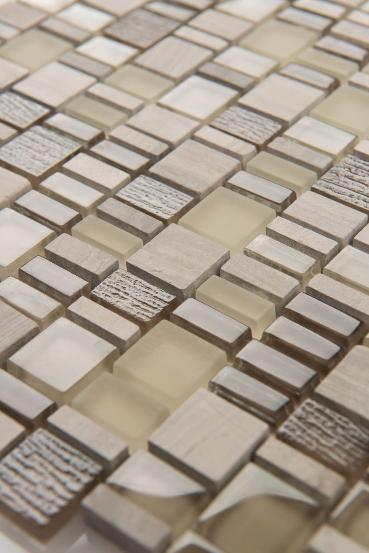 "Arvex - GMAR10 Karma Glass & Marble Mosaic Blend Tile (11.8""x11.8"" sheet)"