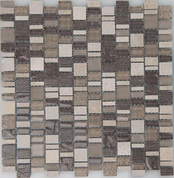 "Arvex - GMAR29 Karma Glass & Marble Mosaic Blend Tile (11.8""x11.8"" sheet)"