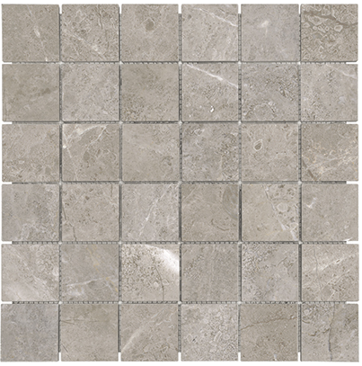 "2""x2"" Ritz Gray Polished Marble Mosaic Tile 76-474"