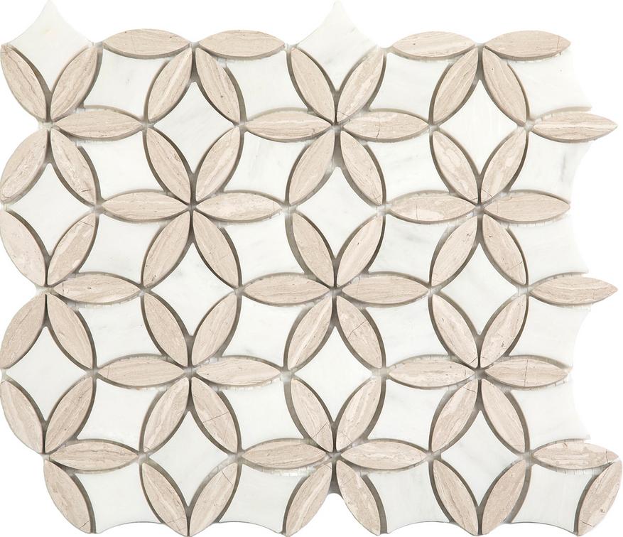 "Paper White & Wooden White Flora Mosaic (12""x13"" Sheet)"