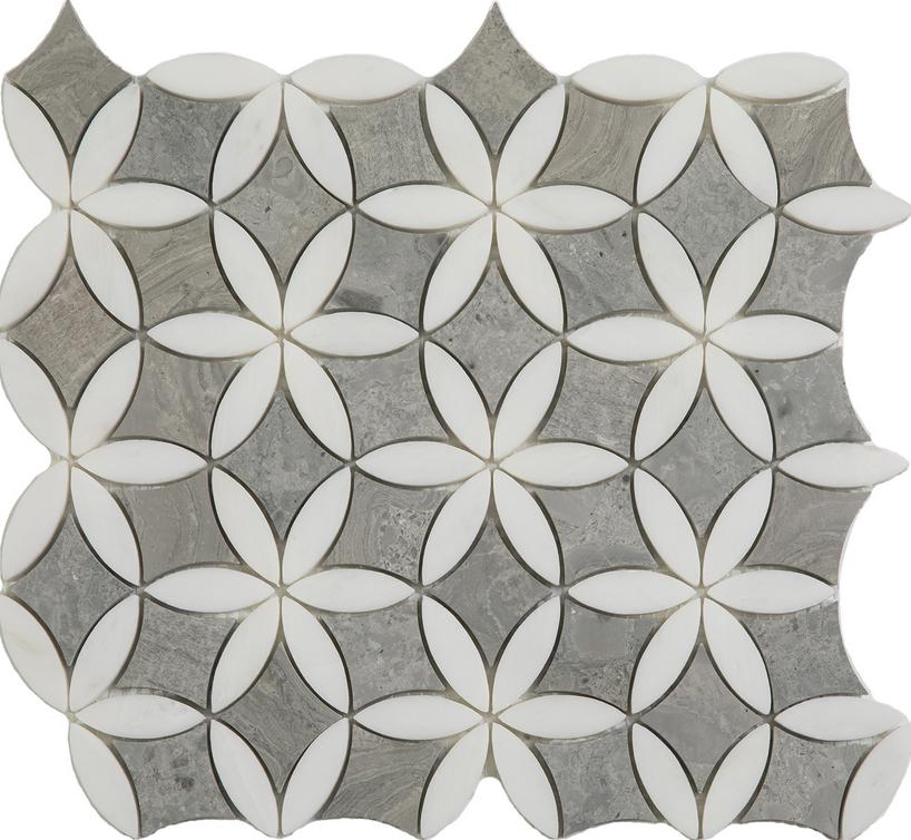 "Wooden Silver & Paper White Flora Mosaic (12""x13"" Sheet)"