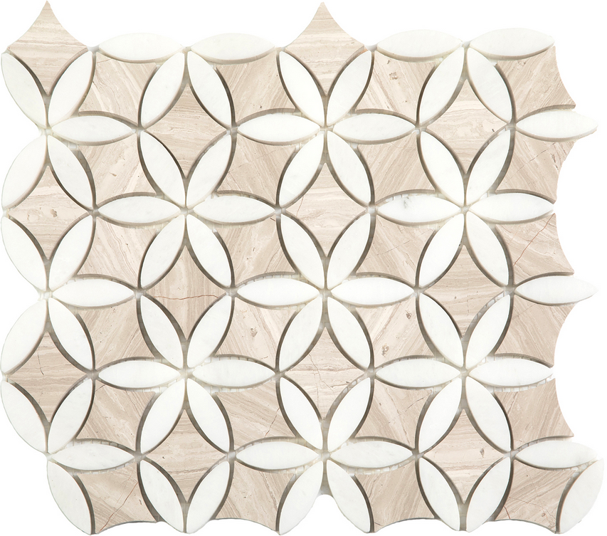 "Wooden White & Paper White Flora Mosaic (12""x13"" Sheet)"