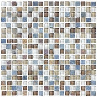 "Anatolia - 5/8""x5/8"" Bliss Amber Tea Glass Slate Blend Mosaic Tile 35-017"
