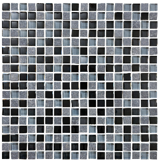 "Anatolia - 5/8""x5/8"" Bliss Black Timber Glass Slate Blend Mosaic Tile 35-019"