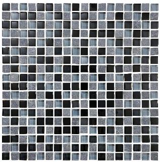 "Anatolia - 5/8""x5/8"" Bliss Black Timber Glass Slate Blend Mosaic Tile 35-019"