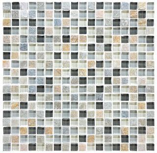 "Anatolia - 5/8""x5/8"" Bliss Silver Aspen Glass Quartz Blend Mosaic Tile 35-021"