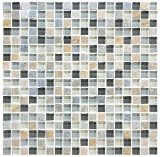 "Anatolia - 5/8""x5/8"" Bliss Silver Aspen Glass Quartz Blend Mosaic Tile 35-021"