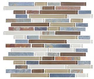Anatolia - Bliss Amber Tea Glass Slate Linear Blend Mosaic Tile 35-023