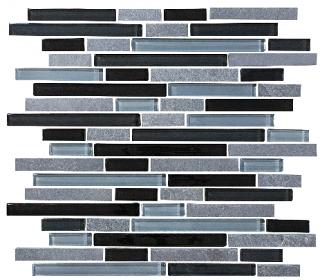 Anatolia - Bliss Black Timber Glass Slate Linear Blend Mosaic Tile 35-025