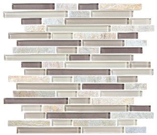 Anatolia - Bliss Cotton Wood Glass Quartz Linear Blend Mosaic Tile 35-026