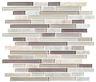 Anatolia - Bliss Cotton Wood Glass Quartz Linear Blend Mosaic Tile 35-026
