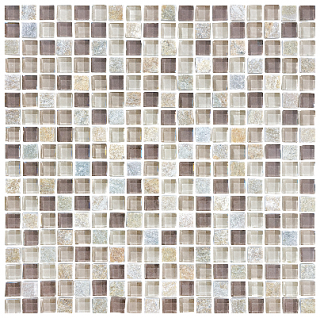 "Anatolia - 5/8""x5/8"" Bliss Cotton Wood Glass Quartz Blend Mosaic 35-020"