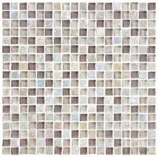 "Anatolia - 5/8""x5/8"" Bliss Cotton Wood Glass Quartz Blend Mosaic 35-020"