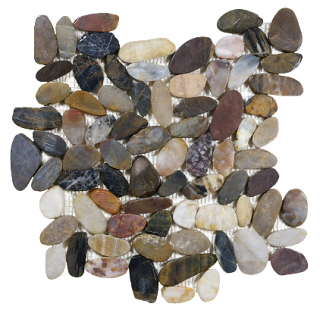 "Zen Pebble Bora Wilderness Flat Polished Pebble Mosaic Tile (12""x12"" Sheet)"