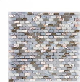 "Milstone - 0.4""x0.8"" Grey Yahly Mosaic (11.3""x11.3"" Sheet)"