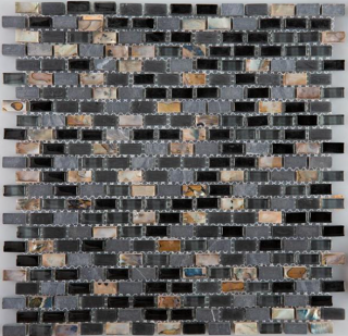 "Milstone - 0.4""x0.8"" Black Yahly Mosaic (11.3""x11.3"" Sheet)"