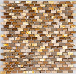 "Milstone - 0.4""x0.8"" Brown Yahly Mosaic (11.3""x11.3"" Sheet)"