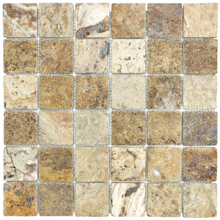 "2""x2"" Scabos Tumbled Travertine Mosaic Tile 76-349"