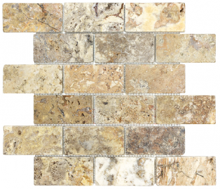 "2""x4"" Scabos Tumbled Travertine Mosaic Tile 76-350"
