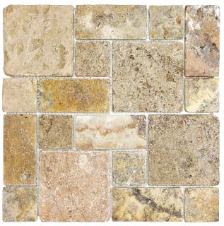 Scabos Tumbled Roman Pattern Travertine Mosaic Tile 76-347