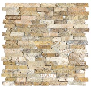 "5/8"" Scabos Tumbled Random Strip Travertine Mosaic Tile 76-348"