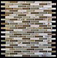 "Milstone - 0.4""x1.65"" Brown Naomi Mosaic  (10.25""x11.4"" Sheet)"