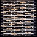 "Milstone - 0.4""x1.65"" Black Naomi Mosaic  (10.25""x11.4"" Sheet)"