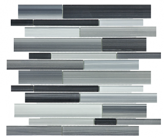 Anatolia - Bliss Fusion Carbon Random Strip Glass Mosaic Tile 35-030