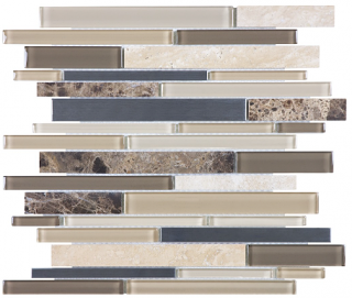 Anatolia - Bliss Woodland Park Glass-Stone-Stainless Linear Strip Mosaic Tile 35-043