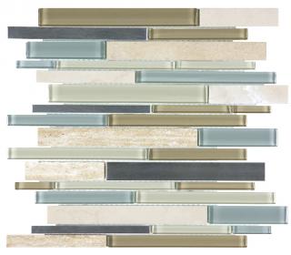 Anatolia - Bliss Sea Coast Glass-Stone-Stainless Linear Strip Mosaic Tile 35-044