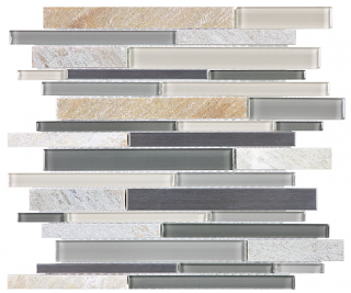 Anatolia - Bliss Fossil Rock Glass-Stone-Stainless Linear Strip Mosaic Tile 35-045