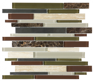 Anatolia - Bliss Deep Grotto Glass-Stone-Stainless Linear Strip Mosaic Tile 35-046