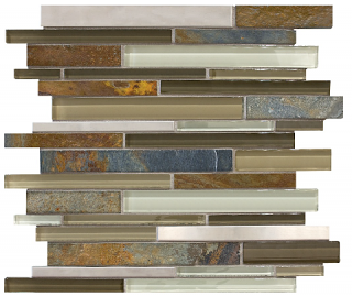 Anatolia - Bliss Nature Trail Glass-Stone-Stainless Linear Strip Mosaic Tile 35-047