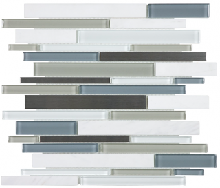 Anatolia - Bliss Nordic Storm Glass-Stone-Stainless Linear Strip Mosaic Tile 35-048