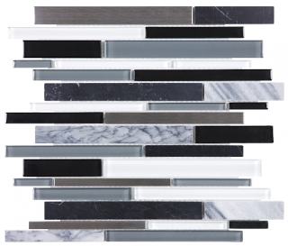 Anatolia - Bliss Arctic Night Glass-Stone-Stainless Linear Strip Mosaic Tile 35-049