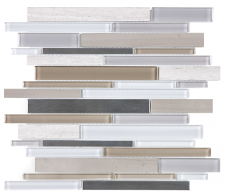 Anatolia - Bliss Twilight Mist Glass-Stone-Stainless Linear Strip Mosaic Tile 35-050