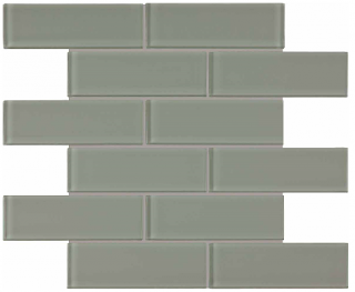 """Anatolia - 2""""x6"""" Bliss Element Smoke Brick Glass Mosaic Tile 35-039"""