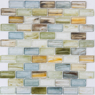 "Milstone - 1""x2"" Glass Mix Color Brick Mosaic (12.8""x12.8"" sheet)"