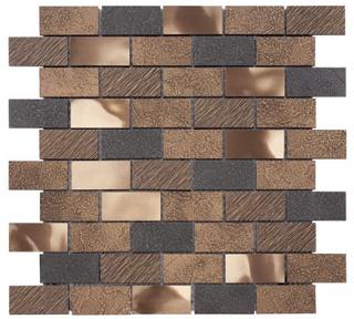 "Questech - 1""x2"" Cast Metal Antique Bronze Twill Brick Mosaic"