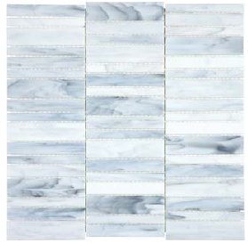 Anatolia - Bliss Baroque Carrara Random Stacked Stained Glass Mosaic 35-074