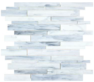 Anatolia - Bliss Baroque Carrara Random Strip Stained Glass Mosaic 35-081