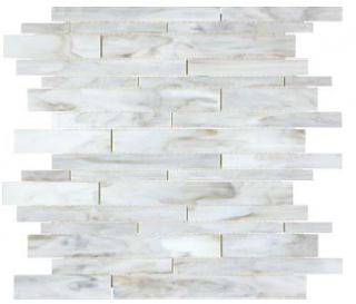 Anatolia - Bliss Baroque Calacatta Random Strip Stained Glass Mosaic 35-082