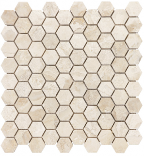 """1-1/4""""x1-1/4"""" Impero Reale Hexagon Honed Marble Mosaic Tile 76-415"""