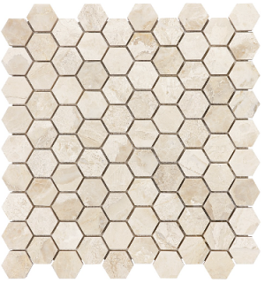 "1-1/4""x1-1/4"" Impero Reale Hexagon Polished Marble Mosaic Tile 76-410"