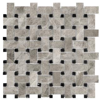 Phantasie Gray Basketweave Polished Marble Mosaic Tile 76-429